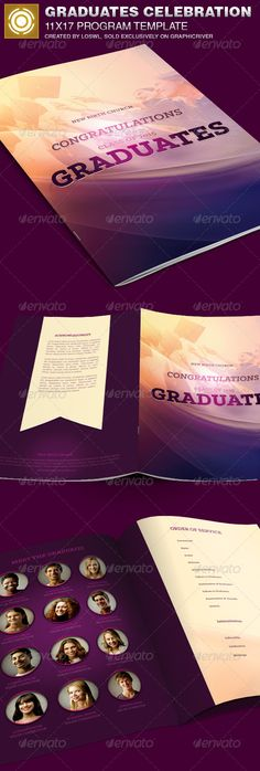 The Graduates Celebration Church Program Template is great for any Graduation Celebration, Pastor Appreciation, Church Bulletin, or Memorial event, etc. All text and graphics in the files are editable, color coded and simple to edit.