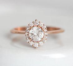 Rose Gold Diamond Engagement Ring, Half Carat Diamond Ring with Halo Diamond Setting, Delicate Diamond Ring Vintage Inspired Engagement Rings, Round Diamond Engagement Rings, Engagement Ring Settings, Diamond Rings, Halo Rings, Thing 1, Silver Diamonds, Silver Ring
