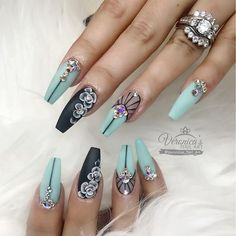 These nails are so PRETTY!   coffin shaped nails   nail art ideas   long nails   unas   acrylic and gel nails idea