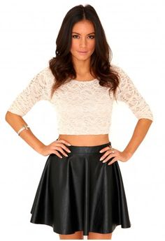 Kaitlin Long Sleeve Lace Crop Top - tops - crop tops - missguided