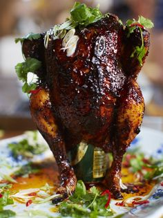 Sweet & spicy beer can chicken. Amazing!!!!! Used a dipping sauce of bbq sauce, soy sauce, coriander, spring onions and garlic powder