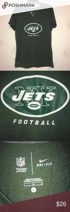 🏈Nike Dri-Fit NY Jets V Neck T-Shirt Excellent used condition with no signs of wear! The football has a cool textured logo. Comes from a smoke free home. Thanks for looking! :) Nike Tops Tees - Short Sleeve
