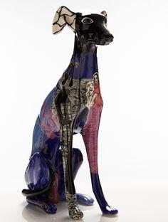 Ceramic greyhounds by artist Evelyn Tannus