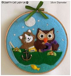 Felt Hoop Art. The Owl and The Pussy-Cat. Hand by CraftyCatLadyUK