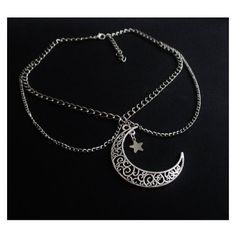 crescent moon double chain choker, moon necklace, goth jewelry, pastel ❤ liked on Polyvore featuring jewelry, necklaces, gothic chokers, pendant chain necklace, chain necklaces, choker necklaces and long pendant