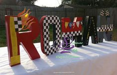 from START to FINISH customized letters for a little boys bedroom wall or birthday party. You can celebrate by adding these customized letters