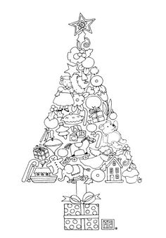 tree of ornaments free coloring page from mary engelbreit no link attached
