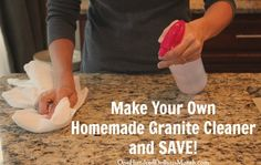 Homemade Granite Cleaner.. 1/4 cup rubbing alcohol, 3-4 drops dawn dish soap {any dish soap would work}, & water.  Add rubbing alcohol & dish soap to a spray bottle.  Top with water, put the lid on & shake it up. {If you don't like the smell of rubbing alcohol, you could add some essential oil}  To use, you just spray down your counters & wipe them off.  The whole bottle costs pennies and works great.  Take that over-priced granite cleaner!