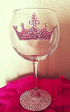 Hey, I found this really awesome Etsy listing at https://www.etsy.com/listing/218751509/princess-pink-bling-wine-glass-20-oz-red