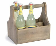 Favorite lemonade in Ella's kitchen company wooden case. Wooden Case, Wooden Boxes, Milk Bottle Holder, Milk Box, Glass Milk Bottles, Baking Accessories, Bottle Carrier, Recycled Pallets, Al Fresco Dining