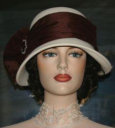 "Flapper Hat Edwardian Style Hat ""Lady Josephine"" Ivory Hazelnut Cloche Hat"