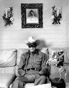"Clayton Moore, the Lone Ranger, at his home in Los Angeles, in 1992.  Moore often was quoted as saying he had ""fallen in love with the Lone Ranger character"" and strove in his personal life to take The Lone Ranger Creed to heart."