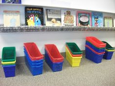 Check out this blog (I Love 1st Grade) to see how she turns regular rain gutters into adorable book displays.
