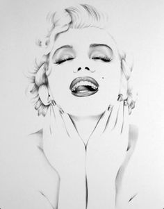Marilyn drawing. Watercolor for Alex