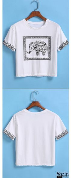 White Short Sleeve Elephant Print Crop T-Shirt  ONLY US$8.99  40% OFF YOUR FIRST ORDER