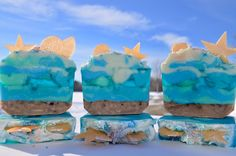 Ocean View. Cold process and melt & pour soap combined. Scented with Abalone and sea with vanilla bean flecks in the sand and pink sea salt on the top. Lakehurst Farms