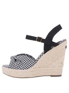 Pepe Jeans - Černé dámské kostkované sandálky na platformě a klínku - 1