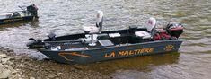 Bote de pesca em alumínio leve e soldado. Bote pesca alumínio ligero
