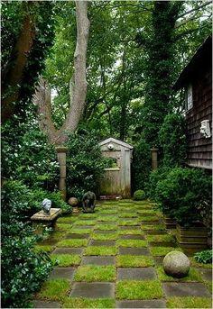Checkered grass patio