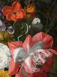 Roses, Convolvulus, Poppies, and Other Flowers in an Urn on a Stone Ledge, Flower Prints, Flower Art, Dutch Still Life, White Peonies, Exotic Flowers, Botanical Art, Painting Inspiration, Flower Arrangements, Poppies