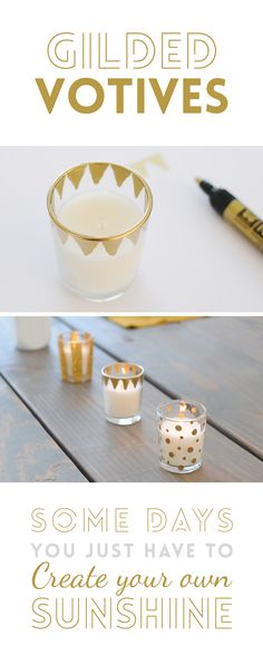 Create this pretty votives all golden and shiny. makes it easy with this DIY kit. Fun Crafts, Diy And Crafts, Craft Projects, Projects To Try, Ideias Diy, Diy Candles, Handmade Candles, Crafty Craft, Crafting