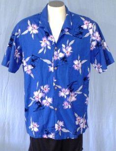 Paradise Found Blue XL Hawaiian Shirt Floral Palm Trees Cotton #ParadiseFound #Hawaiian