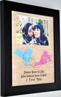 Unique map present for boyfriend girlfriend husband or wife. Long Distance couple two maps board art with picture opening. This is a custom map art present ANY colors map location names date symbols. Board art & picture cut. Original by Picmats CUSTOMIZABLE This Is Not A Print That Tears, So You Can Replace Photos Opening Is Cut For Picture Placement Anytime 4-Ply 1/16 Inch Thick Premium Acid Free Board Price Is For: photo safe board with custom artwork For Frame, Canvas, And Accent Mat O...