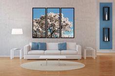 Conjunto de Quadros Decorativos Árvore Ipê Branco Kit com 3 Quadros - Decore Pronto