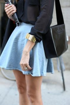 #WithChic #chicoftheday, Simple Cheap Chic, Shop WithChic High Waist Blue Denim Skater Skirt online.