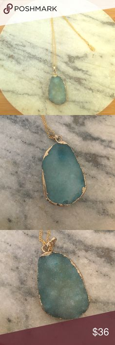"""Druzy gold trimmed stone necklace Stunning boho piece. Brand new. Gold electroplated. 16"""" chain Jewelry Necklaces"""