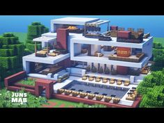 Minecraft Mansion Tutorial, Minecraft Villa, Minecraft Ships, Minecraft House Plans, Easy Minecraft Houses, Minecraft House Designs, Amazing Minecraft, Minecraft Tutorial, Minecraft Architecture