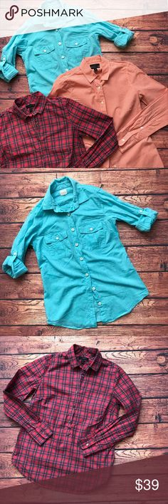 "J.Crew perfect shirt Sz 0 XS Button Down Plaid J.Crew shirt bundle. Sz 0/XS. Chest flat across 16""-18"" depending on the style. Length 24"" J. Crew Tops Button Down Shirts"