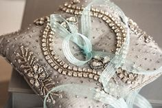 Beaded ring bearer pillow