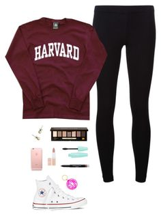 """""""School Day // Contest Entry"""" by psherminwallabieway ❤ liked on Polyvore featuring James Perse, Bobbi Brown Cosmetics, J.Crew, Converse, Givenchy, Rimmel, BaubleBar and emilysfallcontest"""