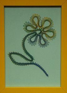 Fleur en dentelle aux fuseaux 16x21cm