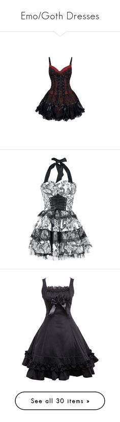 """""""Emo/Goth Dresses"""" by dreadful-glassheart ❤ liked on Polyvore featuring dresses, vestidos, short dresses, corsets, mini dress, corset mini dress, gothic lolita dress, corsette dress, corset cocktail dress and robe"""