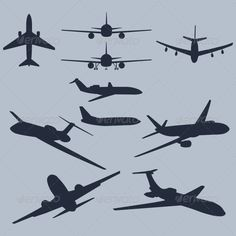 Set of 10 Plane Silhouettes - Travel Conceptual
