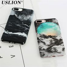 USLION Fashion Phone Case For iPhone 6 6s 6s Plus 7 7 Plus Beautiful Volcanic Snow Mountain Starry Sky Hard PC Phone Case Cover(China (Mainland))