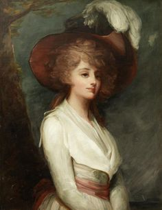 ▴ Artistic Accessories ▴ clothes, jewelry, hats in art - George Romney | Portrait of a Young Lady, late 18th century