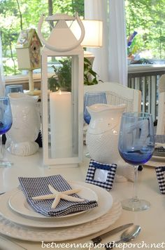 Blue and White Nautical, Beach Themed Tablescape