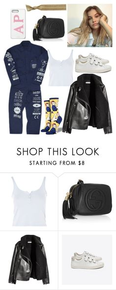 """out #199"" by tynabrookler ❤ liked on Polyvore featuring Topshop, Gucci, H&M, Veja and Ribband"