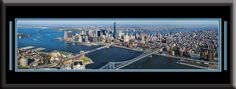 New York City US Skyline Panoramic Comes With 1 1/2 Inch Black Leather Frame-Double Matting - Large Framed Picture - Awesome and Beautiful! This Is a Must for Any Home or Office Décor!