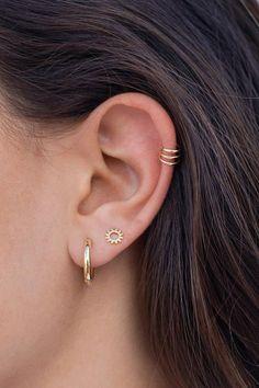 Ear cuff triple, earring ear cuff three bands, without hole, cartilage piercing, ear earrings silver Bar Stud Earrings, Ear Earrings, Bridal Earrings, Ear Cuffs, Triple Ear Piercing, Silver Ear Cuff, Jewelry For Her, Minimalist Earrings, Ear Piercings