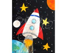 Space Themed Wall Art for Kids Set of 3 CUSTOM SPACE by nJoyArt