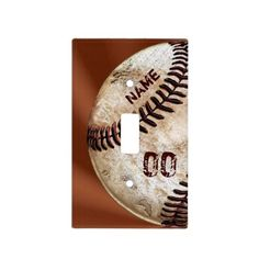 Name and Jersey Number on  Vintage Baseball Light Switch Plate. CLICK HERE: http://www.zazzle.com/personalized_vintage_baseball_light_switch_cover-256565990569238941?rf=238012603407381242* This matches many other cool vintage baseball decor for men and boys bedroom and man cave. See lots more vintage baseball decorating ideas Here: http://www.zazzle.com/yoursportsgifts/gifts?cg=196287291800049169&rf=238147997806552929*  He will have the absolute coolest vintage baseball bedroom for boys and…