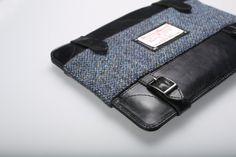 Windsor Briefcase. Barleycorn Dark Blue. Black Leather