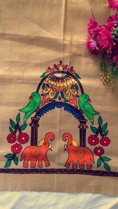 Order contact my whatsapp number 7874133176 - Diy Saree Painting, Dress Painting, Mural Painting, Fabric Painting, Fabric Art, Hand Painted Sarees, Hand Painted Fabric, Fabric Paint Designs, Madhubani Art