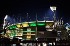 The MCG lights up, in celebration of Australia's Cricket World Cup win.