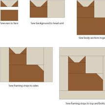 It's easy to finish assembling the patchwork cat quilt block. Just follow my simple instructions.