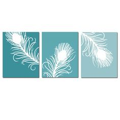 Modern Peacock Feather Trio  Set of Three 8x10 by Tessyla on Etsy, $55.00